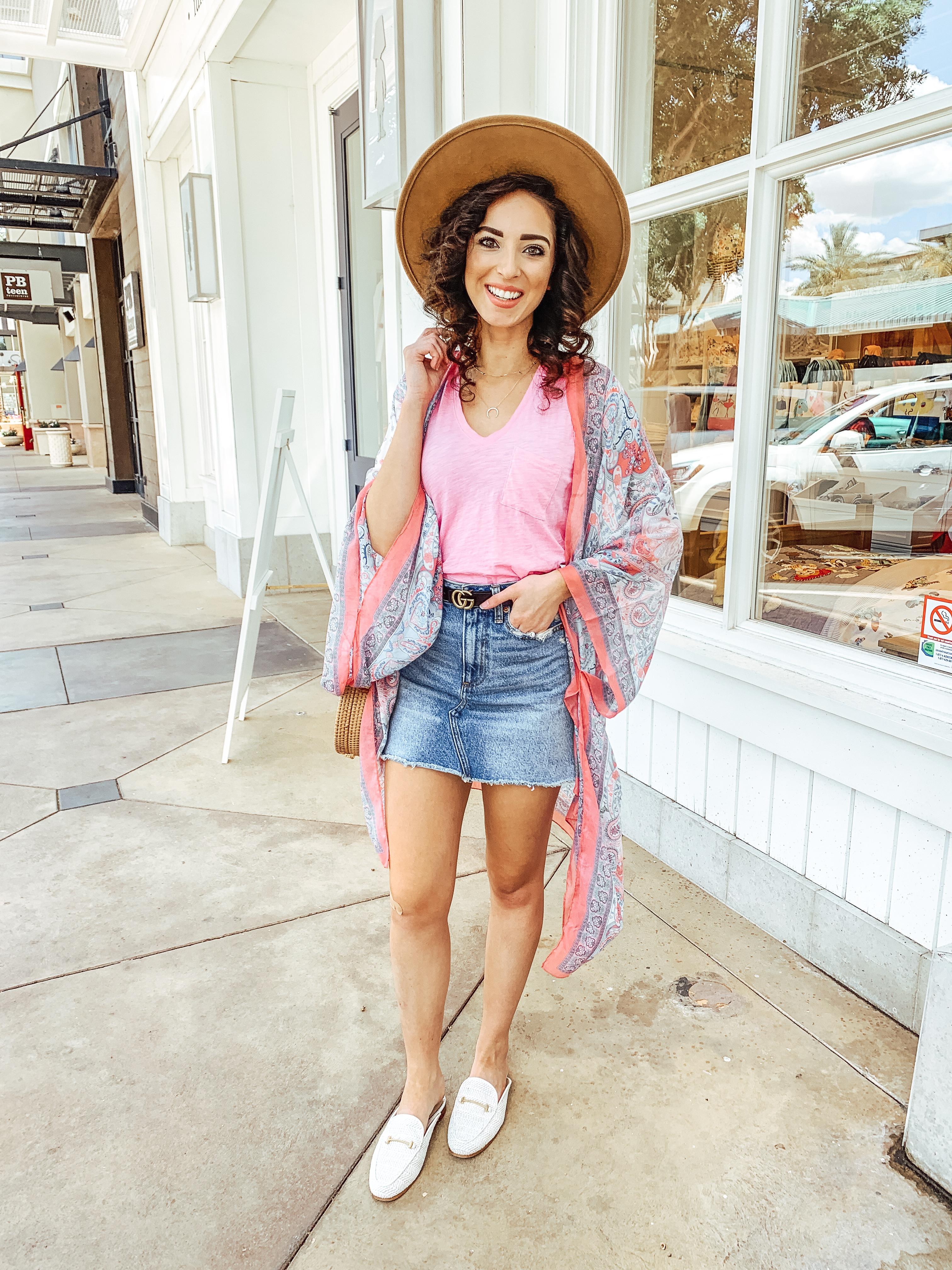$20 Pink Amazon Kimono & White Mules